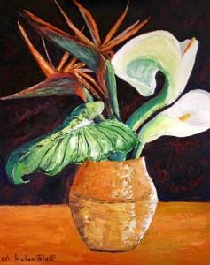 Lillies & Bird paradise in a vase, helenblairsart