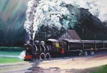 Kingston Flyer steam train, helenblairsart
