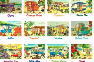 Retro Caravan Cards, 12 pack, helenblairsart