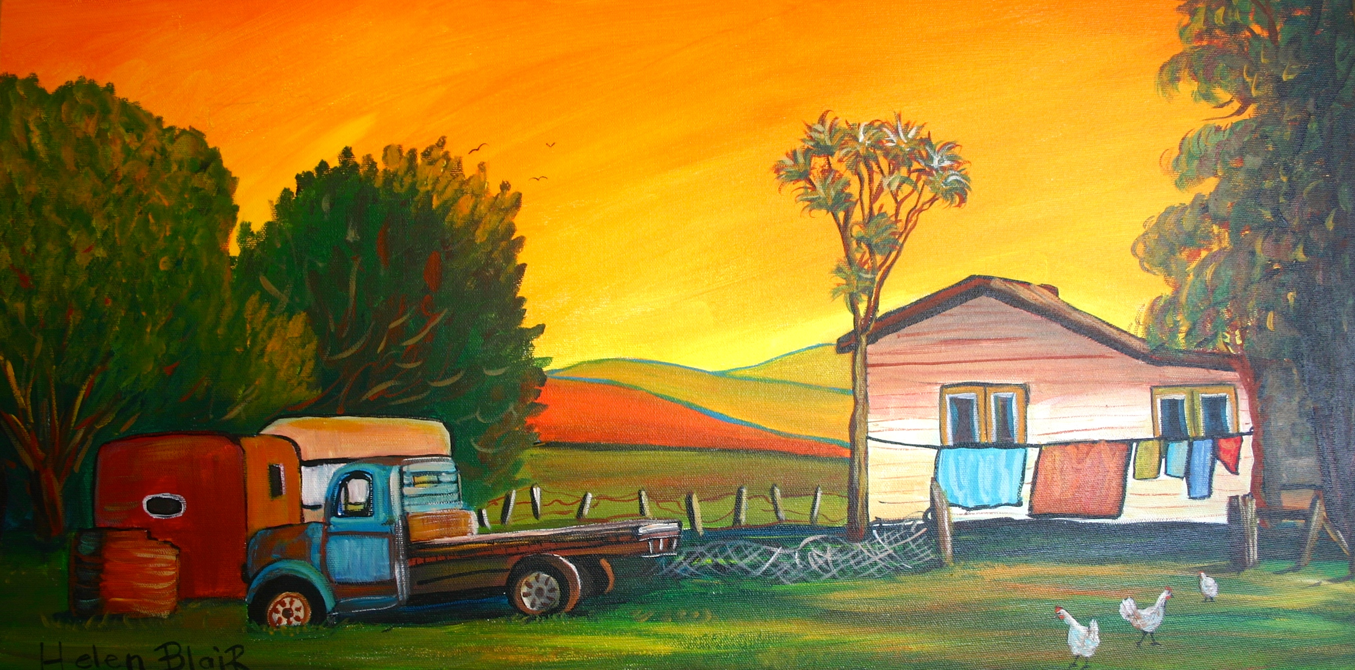 Old Farm Cottage & Truck, helenblairsart