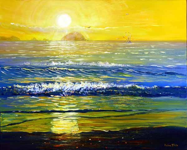 Beach Sunrise, Corromandal, helenblairsart