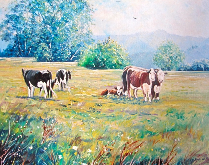 Cows in the meadow, helenblairsart