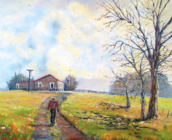Walking the farm track, helenblairsart