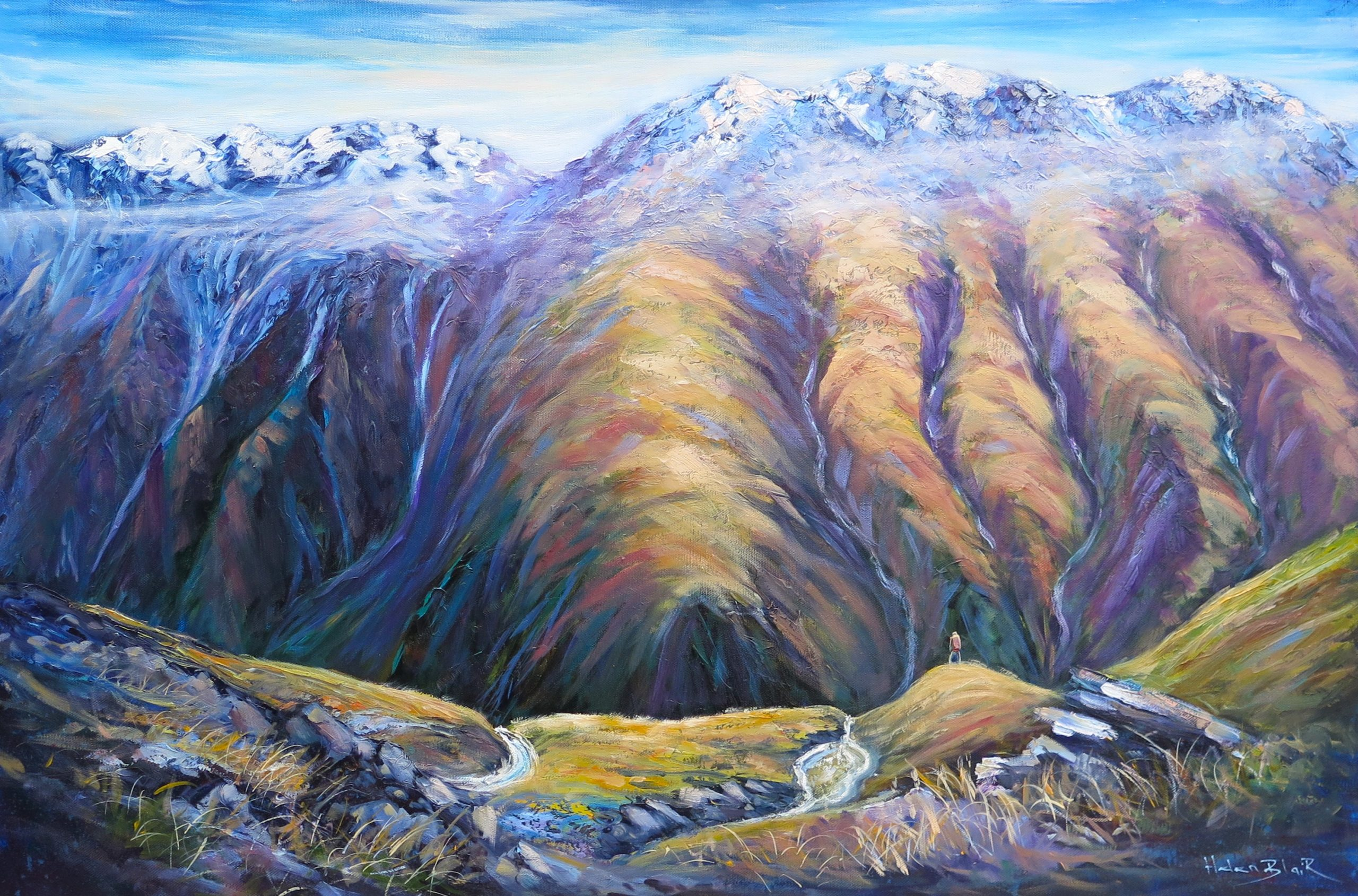 helenblairsart - Mountain Valley, Original Oil for sale