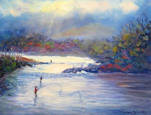 Fishing the Tongariro River, helenblairsart