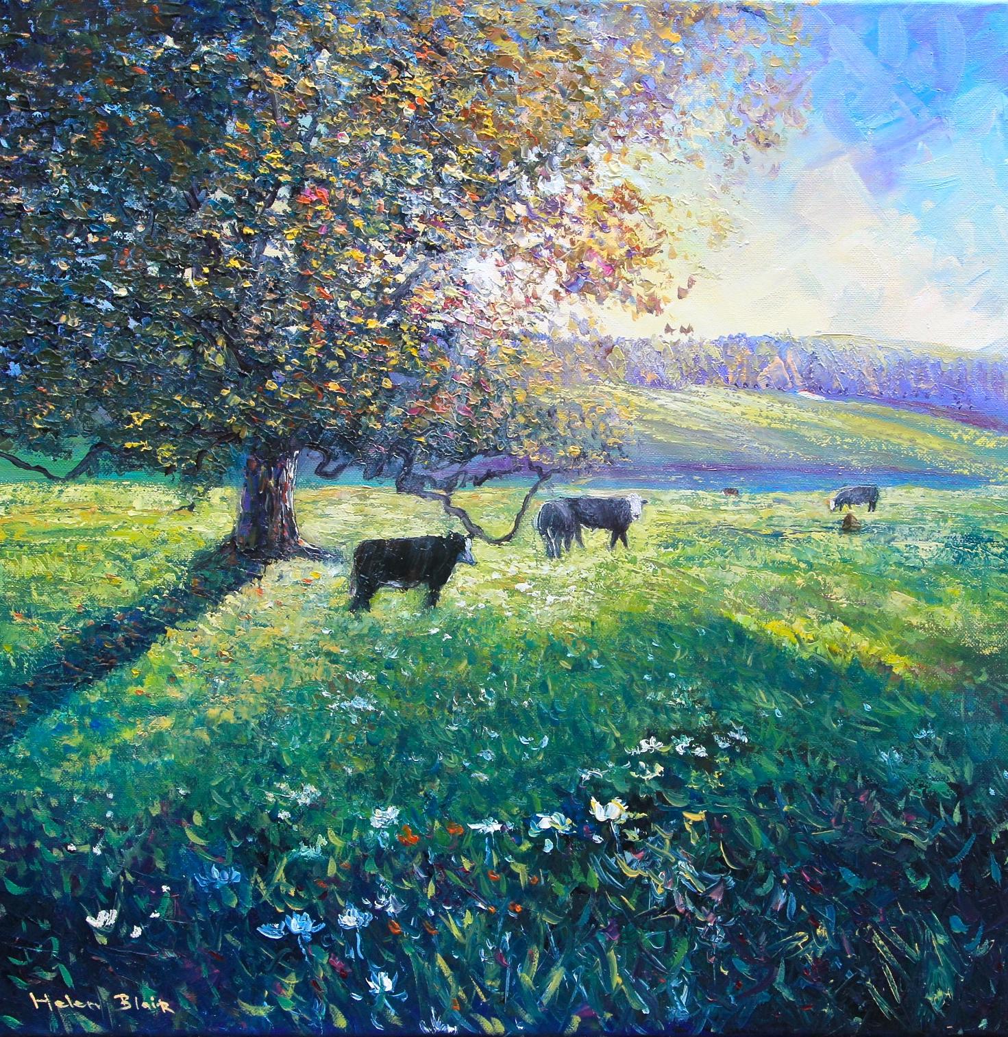 Cows in the Meadow, helenblairsart