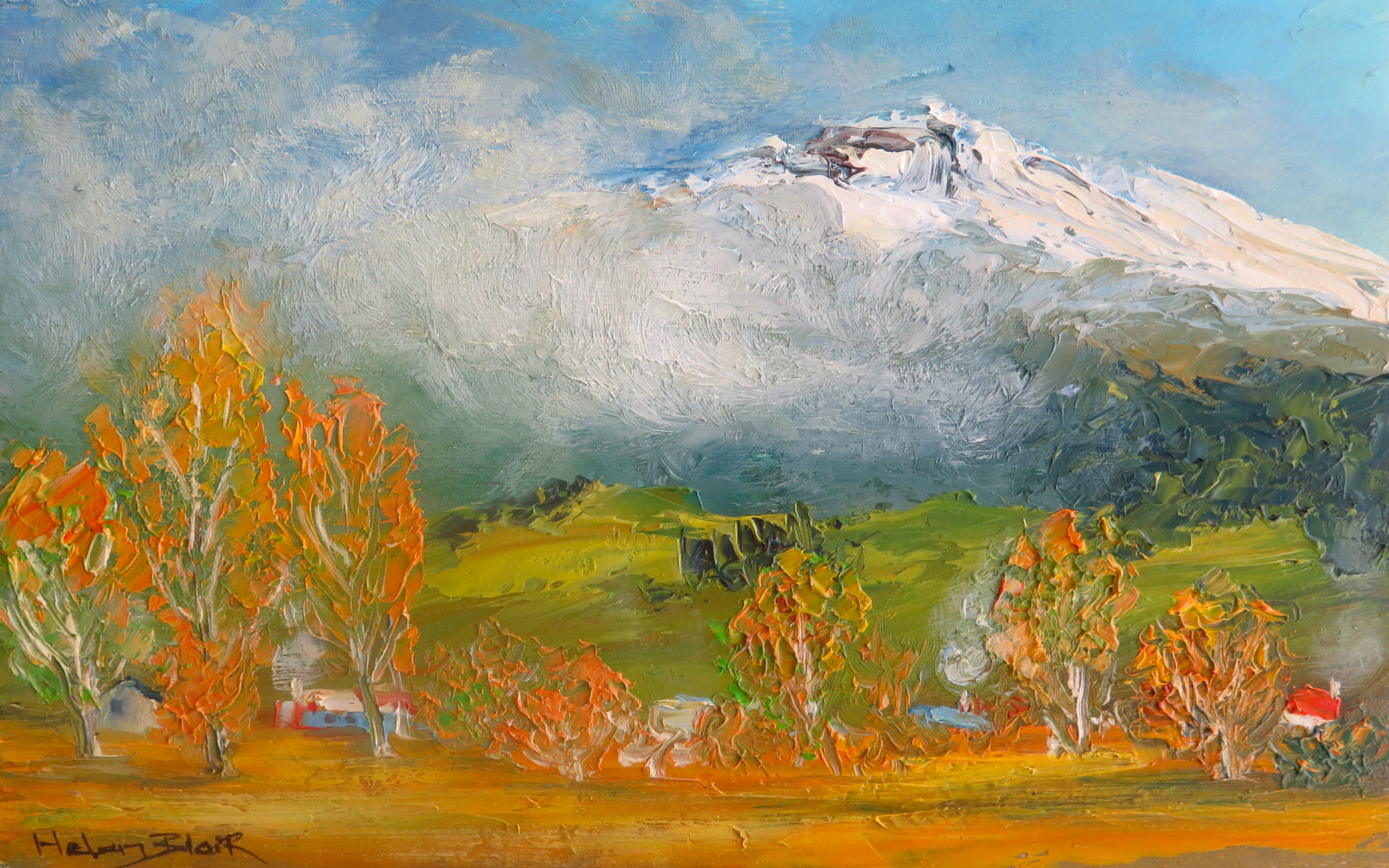 Smokey Little Town of Turangi- helenblairsart