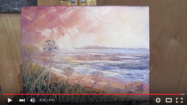 Palette Knife Beach painting- helenblairsart