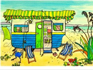 12 Summer Holiday Caravans, helenblairsart