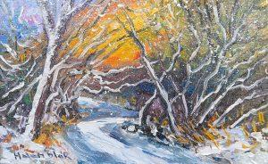 Snowy Road, by Helen Blair, oil on Board, Arrowtown, NZ