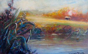 Fishing the stream, Turangi, By Helen Blair
