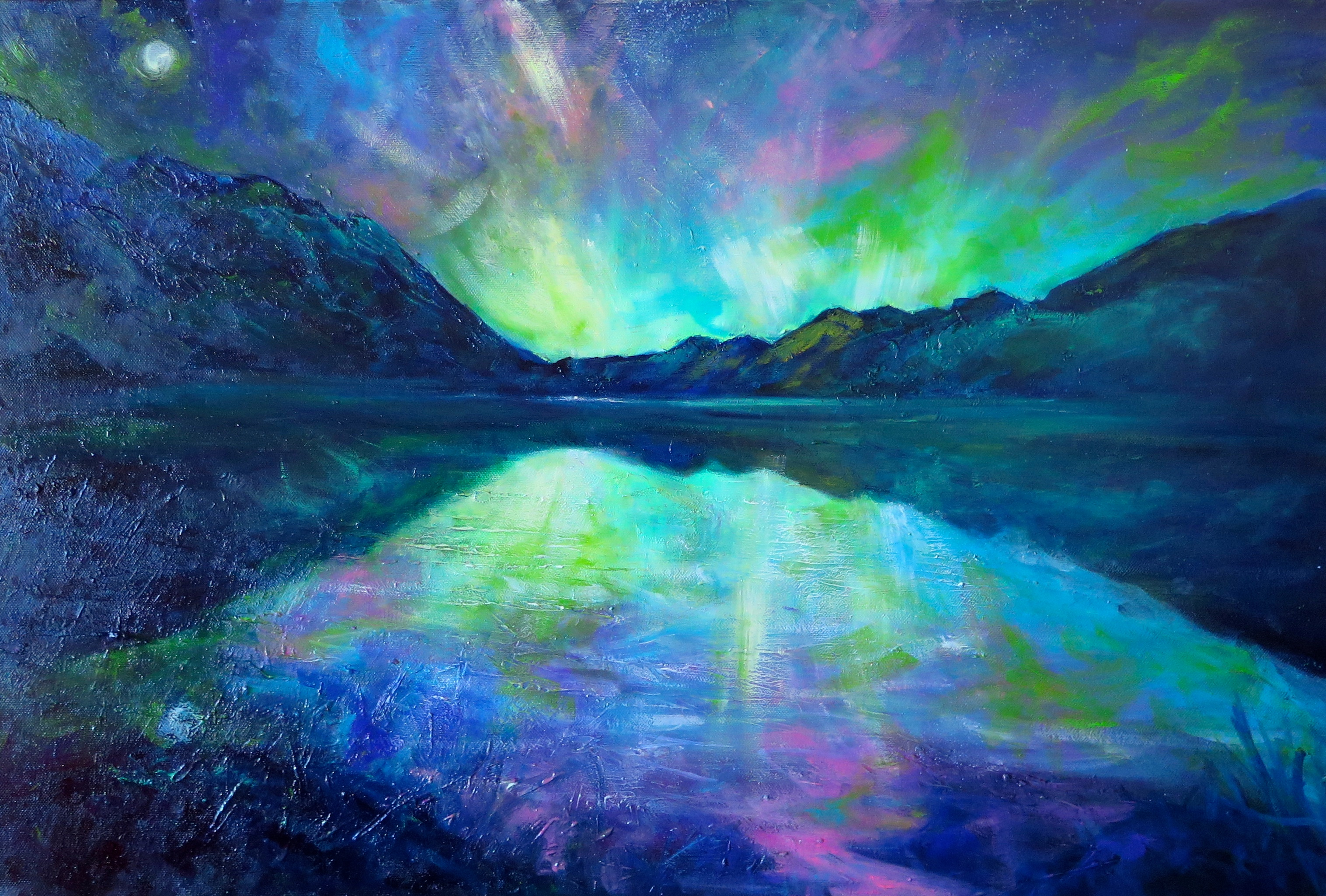 Aurora, Moke Lake by Helen Blair