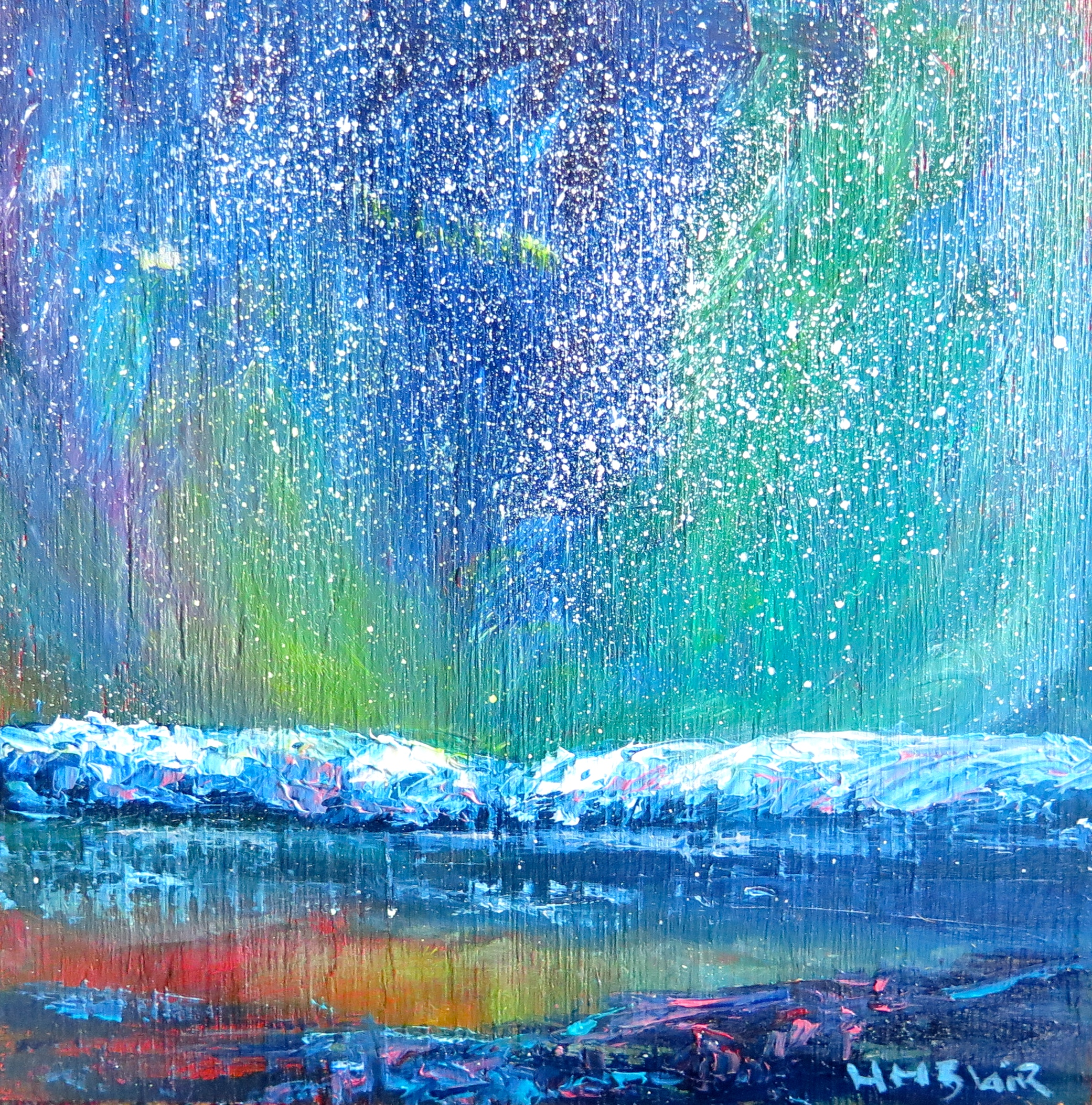Aurora southern lights, minis painting, by HelenBlair