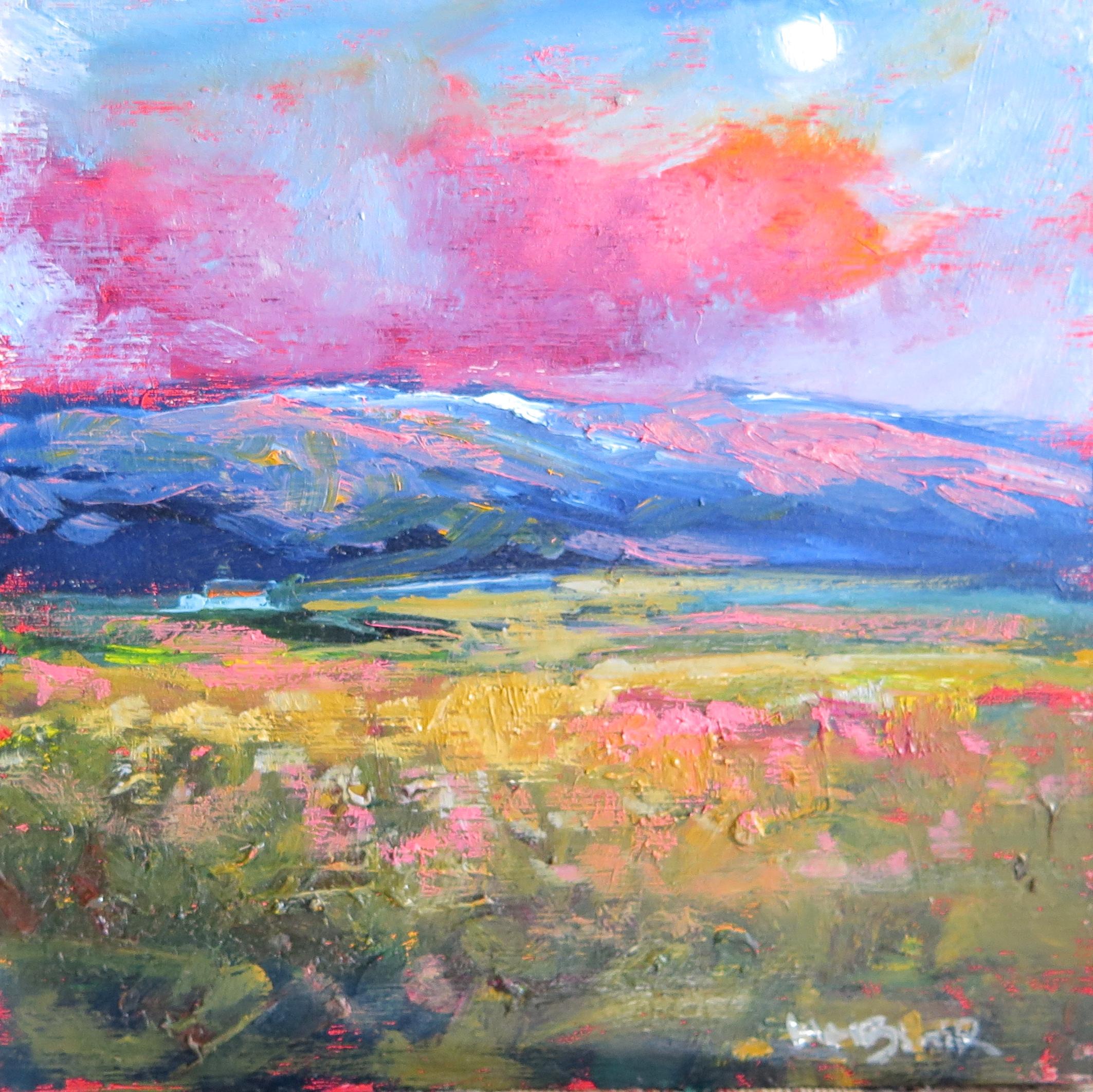 Moonlight Mountain, mini oil painting, by Helen Blair