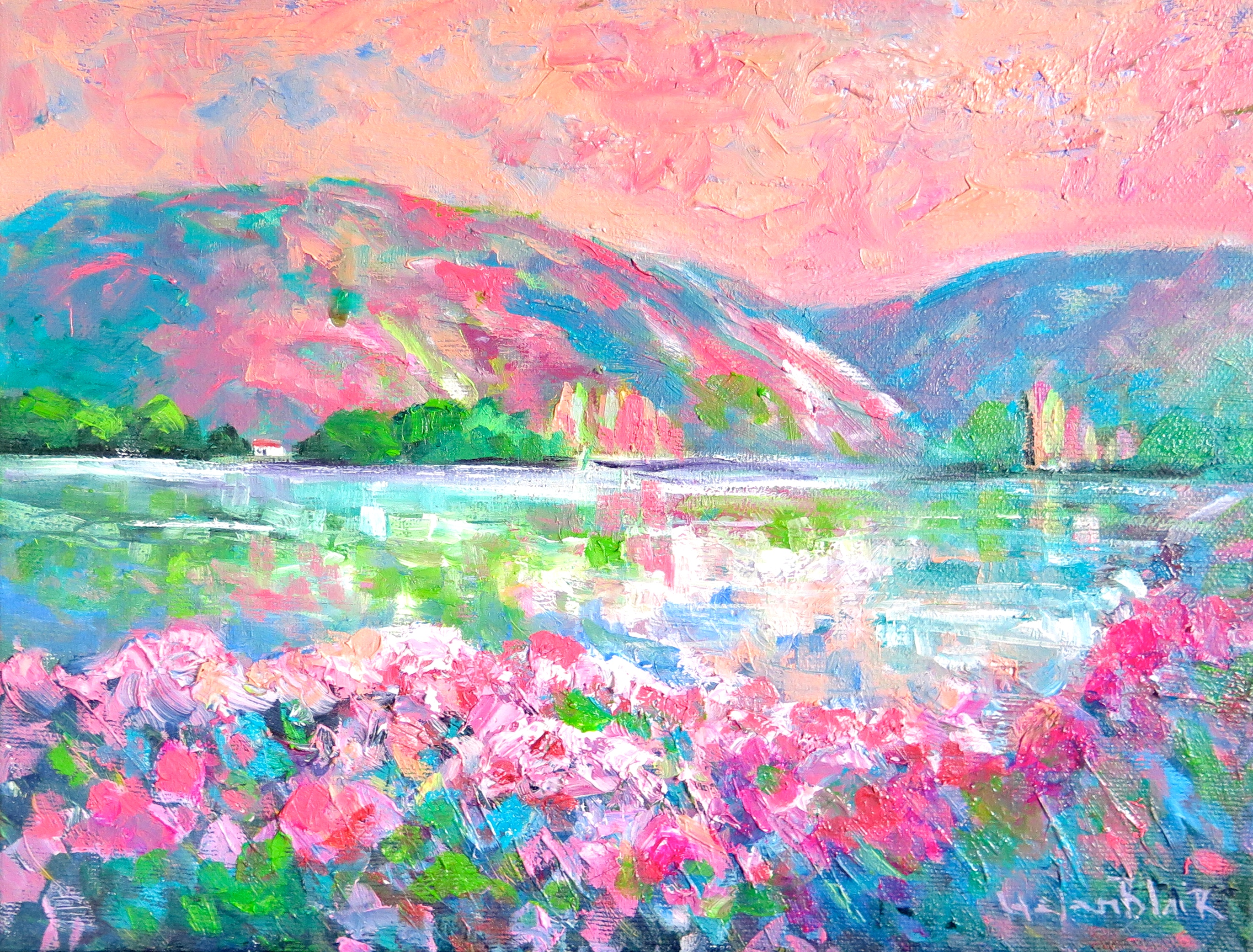 Lake Dunstan Spring, Original oil painting by Helen Blair