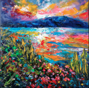 Dunstan Lake Sunset by Helen Blair