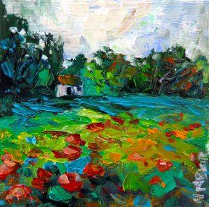 Pines cottage, helenblairsart, mini oil painting