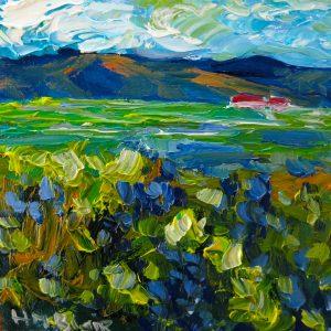 Spring mountain fields, helenblairsart, otagoart, mini oil painting