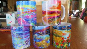 Mugs, Original art designs by Helen Blair