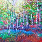 Silver Birch trees & Blue Bells by Helen Blair