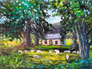 Old Cob Cottage by Helen Blair