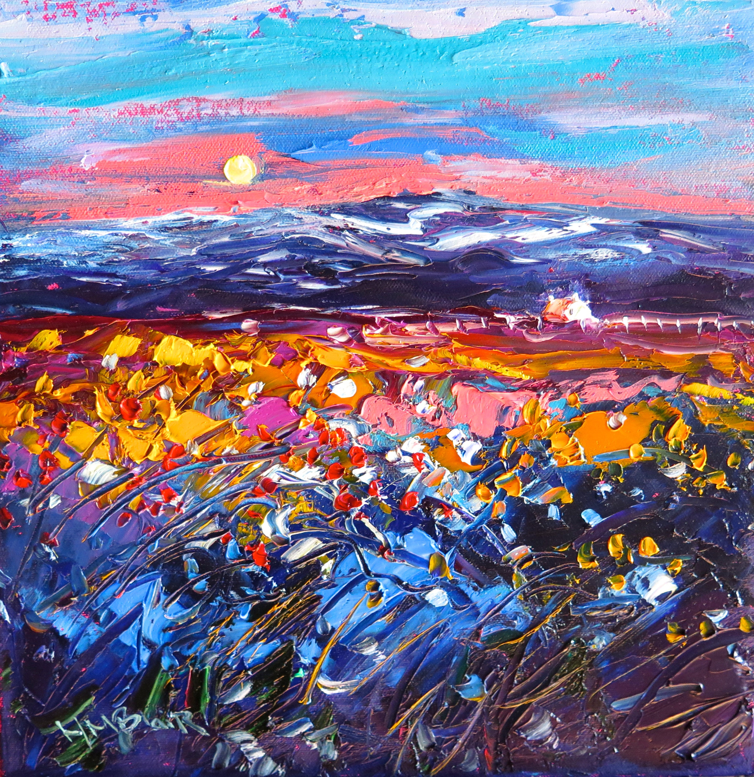 Moonlight mountain Prairie by Helen Blair